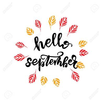 Lettering Hello, September. Vector illustration.